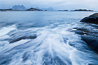 Incoming waves and stormy weather in Lofoten Islands, Norway