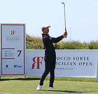 Eunshin Park (KOR) on the 7th tee during Round 1 of the Rocco Forte Sicilian Open 2018 on Thursday 10th May 2018.<br /> Picture:  Thos Caffrey / www.golffile.ie<br /> <br /> All photo usage must carry mandatory copyright credit (&copy; Golffile | Thos Caffrey)
