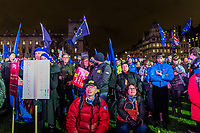 LONDON, ENGLAND - JANUARY 15: Anti Brexit pro Europe demonstrators watch the screens and listen to speeches intently as part of the People's Vote coverage of the vote in Westminster on January 15, 2019 in London, England. Theresa May's Brexit deal finally reaches the House of Commons this evening and MPs will begin voting on it at 7pm. The Prime Minister has consistently said her's is the only deal that Brussels will entertain and urged support from Parliament to avoid the UK crashing out of the European Union with no deal. Photo Adamo Di Loreto
