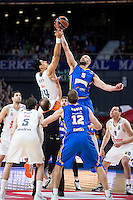 Real Madrid's Gustavo Ayón and Khimki Moscow's James Augustine during Euroleague match at Barclaycard Center in Madrid. April 07, 2016. (ALTERPHOTOS/Borja B.Hojas) /NortePhoto