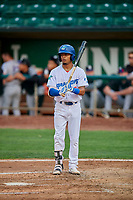 Jeremy Arocho (8) of the Ogden Raptors at bat against the Grand Junction Rockies at Lindquist Field on September 9, 2019 in Ogden, Utah. The Raptors defeated the Rockies 6-5. (Stephen Smith/Four Seam Images)