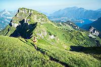 Trail running on the Rophaien ridgeline, Switzerland