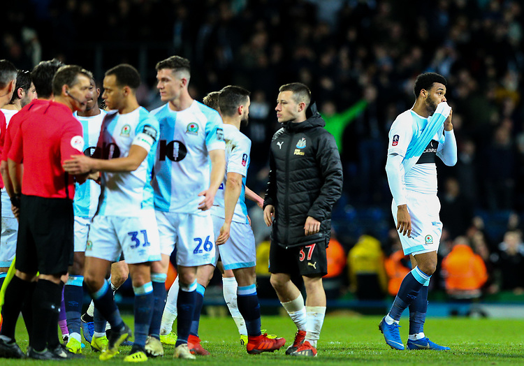 Blackburn Rovers' Joe Nuttall reacts at the full time whistle<br /> <br /> Photographer Alex Dodd/CameraSport<br /> <br /> Emirates FA Cup Third Round Replay - Blackburn Rovers v Newcastle United - Tuesday 15th January 2019 - Ewood Park - Blackburn<br />  <br /> World Copyright &copy; 2019 CameraSport. All rights reserved. 43 Linden Ave. Countesthorpe. Leicester. England. LE8 5PG - Tel: +44 (0) 116 277 4147 - admin@camerasport.com - www.camerasport.com