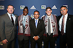 January 17th, 2013: Colorado Rapids draft picks. From left: Team President Tim Hinchey, #6 Deshorn Brown (JAM) (left), Head Coach Oscar Pareja (COL), #11 Dillon Powers (right), Technical Director Paul Bravo. The 2013 MLS SuperDraft was held during the NSCAA Annual Convention held in Indianapolis, Indiana.