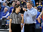 SIOUX FALLS, SD - MARCH 10: Head coach Aaron Johnston of the South Dakota State Jackrabbits  discusses a call with an official during the women's championship game against the South Dakota Coyotes at the 2020 Summit League Basketball Tournament in Sioux Falls, SD. (Photo by Dave Eggen/Inertia)
