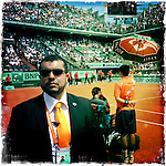 Roland Garros. Paris, France. May 30th 2012.Security during Federer's break