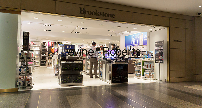 The Brookstone store in Rockefeller Center in New York is seen on Thursday, April 3, 2014. The retailer of gadgets and electronics filed for bankruptcy protection today following in the footsteps of its deceased rival Sharper Image which failed in in 2008. Brookstone has agreed to sell itself to Spencer Spirit Holdings for $147 million. (© Richard B. Levine)