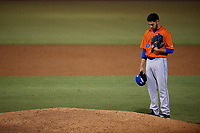 St. Lucie Mets relief pitcher Marcel Renteria (22) pauses before taking the mound during a Florida State League game against the Tampa Tarpons on April 10, 2019 at George M. Steinbrenner Field in Tampa, Florida.  St. Lucie defeated Tampa 4-3.  (Mike Janes/Four Seam Images)