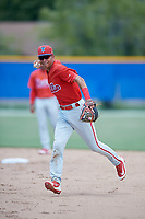 GCL Phillies West second baseman Christian Valerio (13) throws to first base during a game against the GCL Blue Jays on August 7, 2018 at Bobby Mattick Complex in Dunedin, Florida.  GCL Blue Jays defeated GCL Phillies West 11-5.  (Mike Janes/Four Seam Images)