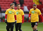 Harry Chapman of Sheffield Utd warms up in KIO t-shirt during the English League One match at the Bramall Lane Stadium, Sheffield. Picture date: November 19th, 2016. Pic Simon Bellis/Sportimage
