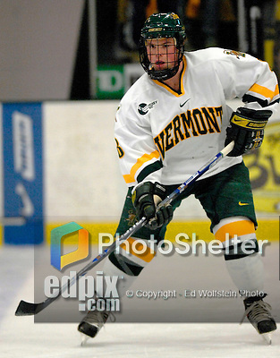 """5 January 2007: University of Vermont forward Dean Strong (8) from Mississauga, ON, in action against the University of New Hampshire Wildcats at Gutterson Fieldhouse in Burlington, Vermont. The UNH Wildcats defeated the UVM Catamounts 7-1 in front of a record setting 48th consecutive sellout at """"the Gut""""...Mandatory Photo Credit: Ed Wolfstein Photo.<br />"""
