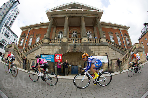 09 MAY 2014 - IPSWICH, GBR - Competitors cycle along Neptune Quay in Ipswich, Great Britain during stage 3 of the 2014 Women's Tour of Britain race (PHOTO COPYRIGHT © 2014 NIGEL FARROW, ALL RIGHTS RESERVED)