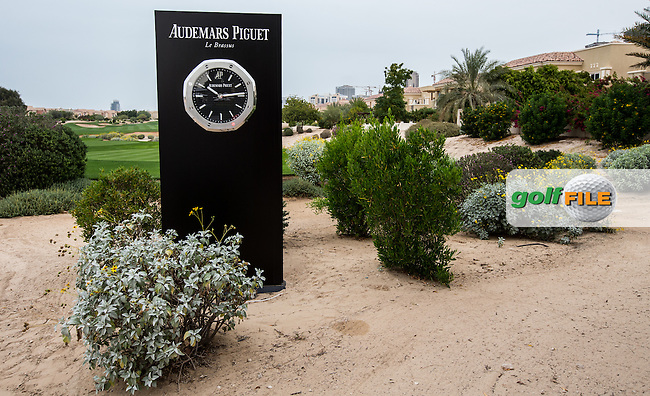 Audemars Piquet clock at the rear of the 1st tee at The Els Club , Dubai, United Arab Emirates.  28/01/2016. Picture: Golffile | David Lloyd<br /> <br /> All photos usage must carry mandatory copyright credit (&copy; Golffile | David Lloyd)