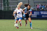 Allston, MA - Saturday, May 07, 2016: Boston Breakers player McCall Zerboni (77) and Chicago Red Stars forward Christen Press (23) during a regular season National Women's Soccer League (NWSL) match at Jordan Field.