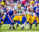 14 December 2014: Green Bay Packers running back James Starks rushes for a 12-yard gain and a first down in the first quarter against the Buffalo Bills at Ralph Wilson Stadium in Orchard Park, NY. The Bills defeated the Packers 21-13, snapping the Packers' 5-game winning streak and keeping the Bills' 2014 playoff hopes alive. Mandatory Credit: Ed Wolfstein Photo *** RAW (NEF) Image File Available ***