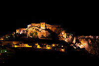 The town of Salobrena on the Costa Tropical of Granada Province, Spain with its Moorish castle atop the hill illuminated at night.