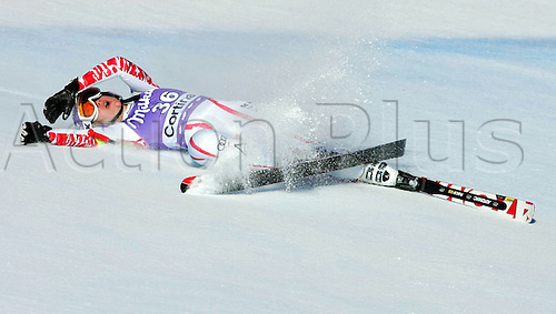 22.01.2011 FIS Downhill Ski World Cup from Cortina in Italy. Picture shows a bad fall from Michaela Kirchgasser AUT