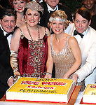 Michael McGrath, Judy Kaye, Kelli O'Hara and Matthew Broderick backstage celebrating the 200th Performance of 'Nice Work if You Can Get It' on Broadway at the Imperial Theatre on October 17, 2012 in New York City.