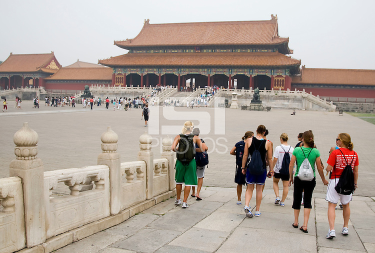USWNT members make their way to the Gate of Supreme Harmony while touring the Forbidden City in Beijing, China.  The team will spend a few days in the capital before moving to Qinhuangdao for their first two group games of the 2008 Olympics.