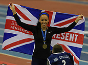 10th February 2019, Arena Birmingham, Birmingham, England; Spar British Athletics Indoor Championships; Katarina Johnson-Thompson is delighted after winning the women's long jump during Day Two of the Spar Indoor Athletics Championships at Birmingham Arena