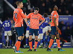 Michael Keane and Terry Mina of Everton react after Leicester City's winning goal during the Premier League match at the King Power Stadium, Leicester. Picture date: 1st December 2019. Picture credit should read: Darren Staples/Sportimage