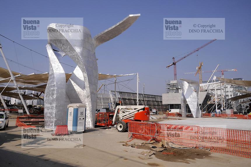 - Milano, cantiere per  l'Esposizione Mondiale Expo 2015; piazza Italia<br /> <br /> - Milan,  construction site for the World Exhibition Expo 2015 ; Italia square