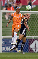 Washington Freedom defender (22) Becky Sauerbrunn goes up for a header against  Sky Blue FC forward (6) Natasha Kai at the Maryland SoccerPlex in Boyds, Maryland.  The Washington Freedom defeated Sky Blue FC, 3-1, to secure a place in the playoffs.
