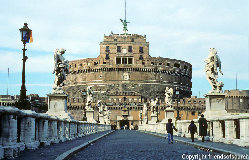 Italy: Rome--Castel San Angelo. Built as Mausoleum by Hadrian 135-139. The Bridge, Pons Aelius or Ponte San Angelo, dates from A.D. 134. Photo '82.