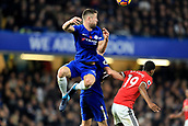 5th November 2017, Stamford Bridge, London, England; EPL Premier League football, Chelsea versus Manchester United; Gary Cahill of Chelsea climbs to win a header over Marcus Rashford of Manchester Utd