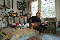 Lenny Hansell in his bedroom on Tahquitz Road, Idyllwild
