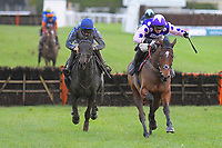 Winner of The John And Jean Taylor's Diamond Anniversary Handicap Hurdle Dan McGrue (r) ridden by Harry Cobden and trained by Paul Nicholls during Horse Racing at Plumpton Racecourse on 4th November 2019