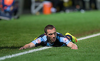 Floored Michael Harriman of Wycombe Wanderers during the Sky Bet League 2 match between Wycombe Wanderers and Oxford United at Adams Park, High Wycombe, England on 19 December 2015. Photo by Andy Rowland.