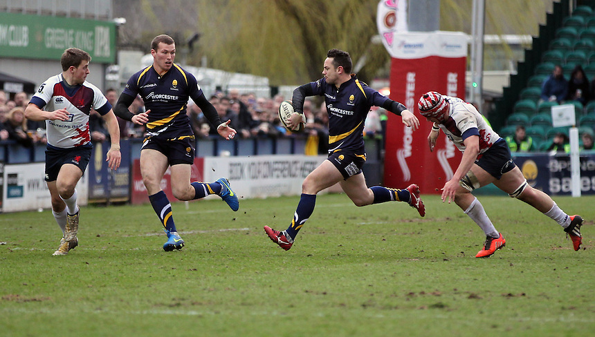 Worcester Warriors Ryan Bower and Max Stelling in action during todays game<br /> <br /> Photographer Rachel Holborn/CameraSport<br /> <br /> Rugby Union - Greene King IPA Championship  - Worcester Warriors v London Scottish - Saturday 28th March 2015 - Sixways Stadium - Worcester<br /> <br /> &copy; CameraSport - 43 Linden Ave. Countesthorpe. Leicester. England. LE8 5PG - Tel: +44 (0) 116 277 4147 - admin@camerasport.com - www.camerasport.com