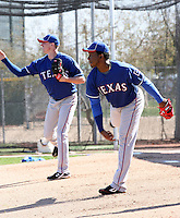 Tanner Scheppers (L), Neftali Feliz (R). Texas Rangers spring training workouts at the Rangers complex, Surprise, AZ - 02/23/2010.Photo by:  Bill Mitchell/Four Seam Images.