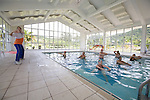 A water aerobics class in the thermal pool at the Itapema Plaza Resort and Spa, Santa Catarina, Brazil