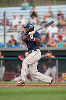 Lowell Spinners designated hitter Brandon Phillips (7) hits a single in the top of the fifth inning during a game against the Auburn Doubledays on July 13, 2018 at Falcon Park in Auburn, New York.  Phillips was promoted to Triple-A Pawtucket after the game; the former All-Star signed a minor league free agent deal with the Boston Red Sox June 27th and played six games with the Spinners batting .318 with one home run and 7 RBI's.  Lowell defeated Auburn 8-5 in ten innings (Mike Janes/Four Seam Images)