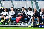 ***BETALBILD***  <br /> Stockholm 2015-07-30 Fotboll Kval Uefa Europa League  AIK - Atromitos FC :  <br /> AIK:s Henok Goitom sitter p&aring; avbytarb&auml;nken bredvid m&aring;lvakt Kyriakos Stamatopoulos under matchen mellan AIK och Atromitos FC <br /> (Foto: Kenta J&ouml;nsson) Nyckelord:  AIK Gnaget Tele2 Arena UEFA Europa League Kval Kvalmatch Atromitos FC Grekland Greece