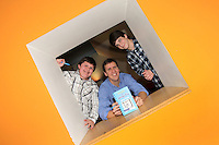 NO FEE PICTURES.29/11/11 Jeff Kinney, author of Wimpy Kids books with actors Robert Capron (Rowley) and Zachary Gordon (Greg) in Dublin to celebrate the launch of Diary of a Wimpy Kid: Cabin Fever at a one off event held at Liberty Hall Theatre in association with Eason. Pictures:Arthur Carron/Collins