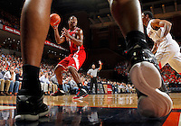North Carolina State forward Richard Howell (1) handles the ball during the game against Virginia Saturday in Charlottesville, VA. Virginia defeated NC State 58-55.