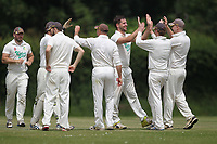 Bentley celebrate a wicket during Bentley CC (Bowling) vs Rainham CC, T Rippon Mid Essex Cricket League Cricket at Coxtie Green Road on 9th June 2018