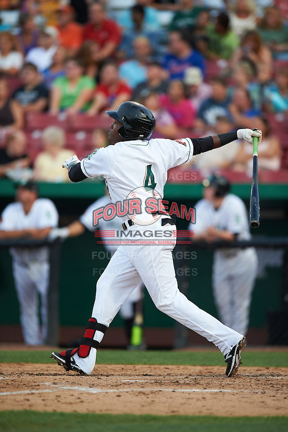 Kane County Cougars third baseman Henry Castillo (4) hits a home run during a game against the Great Lakes Loons on August 13, 2015 at Fifth Third Bank Ballpark in Geneva, Illinois.  Great Lakes defeated Kane County 7-3.  (Mike Janes/Four Seam Images)