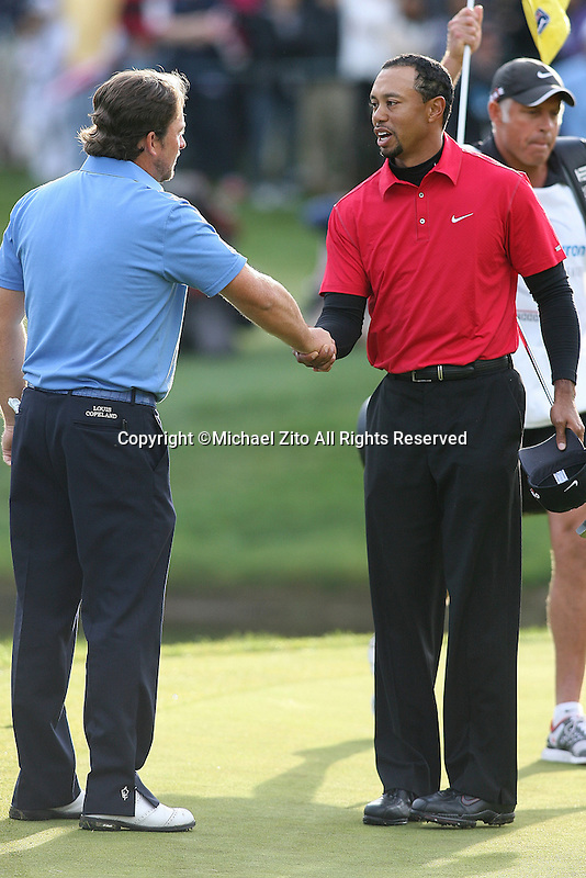 12/05/10 Thousand Oaks, CA: Graeme McDowell and Tiger Woods during the final round of the Chevron World Challenge. Held at the Sherwood Country Club in Thousand Oaks, CA. Graeme McDowell defeated Tiger Woods in a 1 hole playoff.