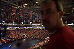 "Sunday, June 24, Raleigh, North Carolina..California evangelist Greg Laurie, brought his ""Harvest Crusade"" to the RBC Center in Raleigh, NC for 3 days of music. prayer and Christian evangelism. Laurie brought together 200 local churches to sponsor the event which used 3000 volunteers and hopes to convert many newcomers to his version of born again Christianity.. An overview of the crowd."
