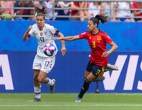 REIMS,  - JUNE 24: Tobin Heath #17 sprints past Leila Ouahabi #3 during a game between NT v Spain and  at Stade Auguste Delaune on June 24, 2019 in Reims, France.