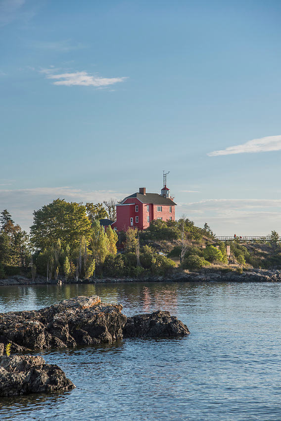 Marquette Lighthouse in Marquette, Michigan on Lake Superior.