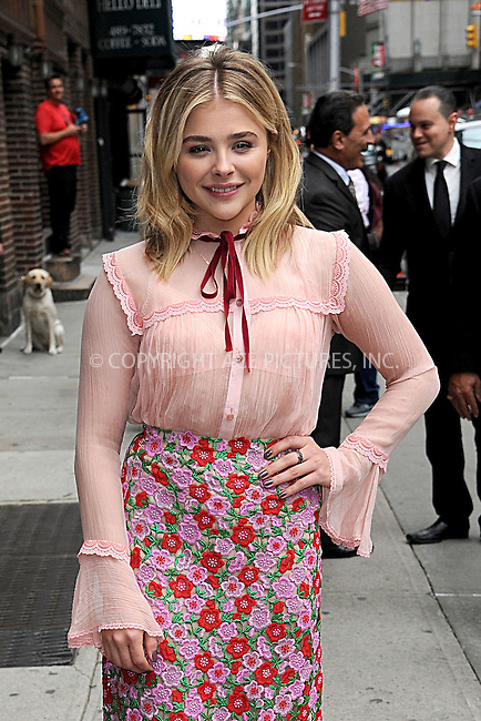 www.acepixs.com<br /> May 10, 2016 New York City<br /> <br /> Chloe Grace Moretz at the Late Show with Stephen Colbert on May 10, 2016 in New York City.<br /> <br /> <br /> Credit: Kristin Callahan/ACE <br /> <br /> <br /> tel:  (646) 769 0430<br /> e-mail: info@acepixs.com