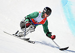 March 28, 2012:  Mono skier, Anthony Radetic, during his first run in Super G competition at the U.S. Adaptive Alpine National Championships at the Racer's Edge course in Aspen, Colorado.