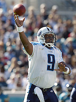Tennessee Titans quarterback Steve McNair fires a pass  during a game against the Jacksonville Jaguars in Jacksonville, FL on Sunday, December 22, 2002.  Tennessee won the game 28 to 10. (Photo by Brian Cleary/www.bcpix.com)