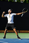 WINSTON SALEM, NC - MAY 22: Petros Chrysochos of the Wake Forest Demon Deacons celebrates after winning a set against the Ohio State Buckeyes during the Division I Men's Tennis Championship held at the Wake Forest Tennis Center on the Wake Forest University campus on May 22, 2018 in Winston Salem, North Carolina. (Photo by Jamie Schwaberow/NCAA Photos via Getty Images)