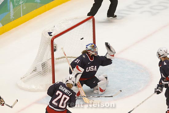 Trent Nelson  |  The Salt Lake Tribune.USA's Jessie Vetter misses the puck, goal scored by Canada's Marie-Philip Poulin to put Canada up 1-0. USA vs. Canada, gold medal game, women's Ice Hockey at the Canada Hockey Place, Vancouver, XXI Olympic Winter Games, Thursday, February 25, 2010.